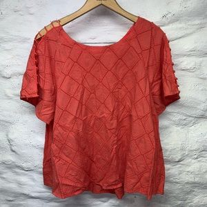 Madewell coral short sleeve blouse